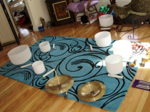 Set Up for a Sound Healing - Love how the Heart Bowl is Illuminated!